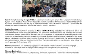Patrick Henry Community College is searching for a Advanced Manufacturing Instructor